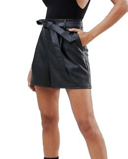 short-taille-haute-similicuir-noir-pour-femme