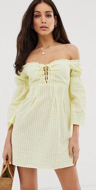 robe-bardot-carreaux-vichy-jaune