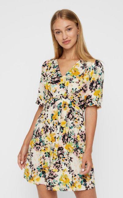robe-courte-imprime-floral-jaune-noir-blanc