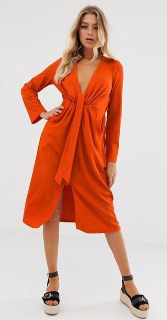 robe-mi-longue-orange-taille-nouee