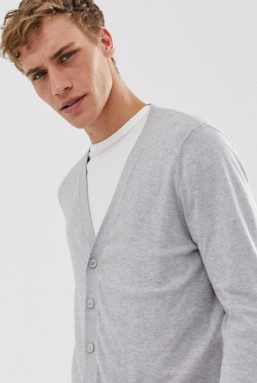 Pull cardigan gris