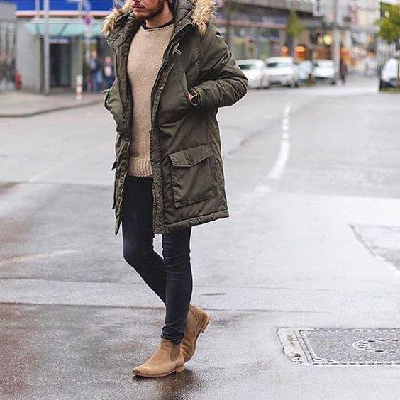 comment bien s'habiller en hiver parka kaki