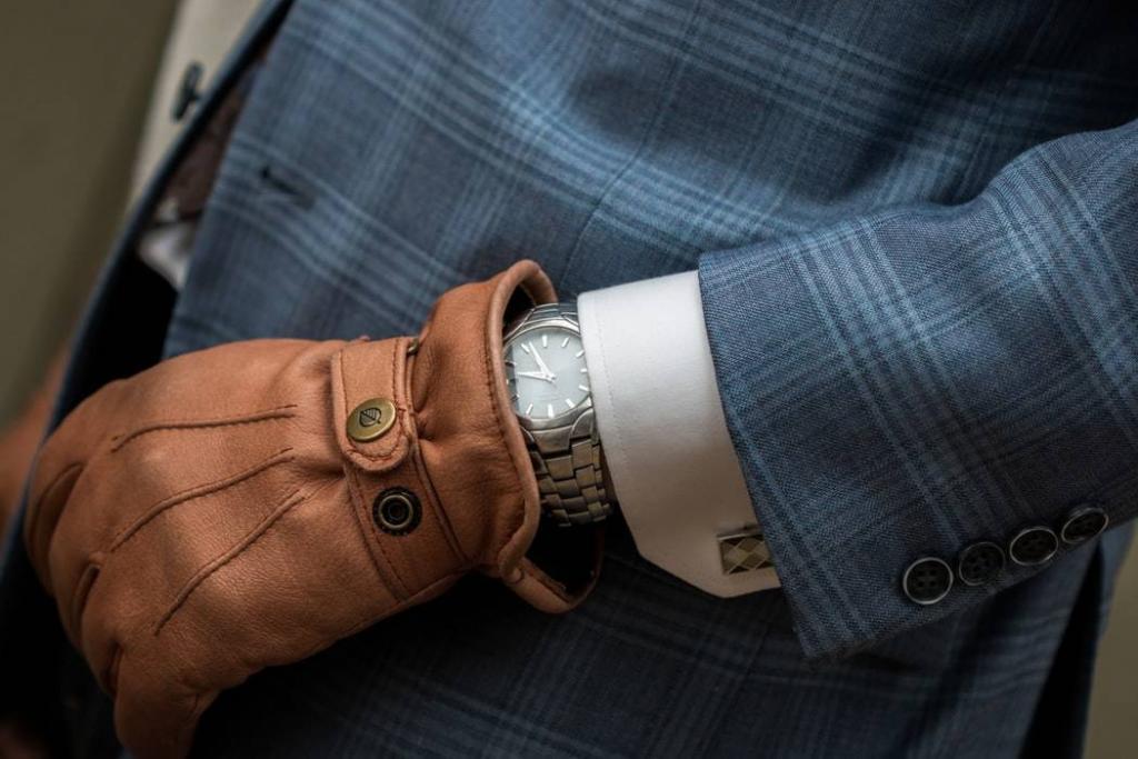 gants en cuir marron pour homme