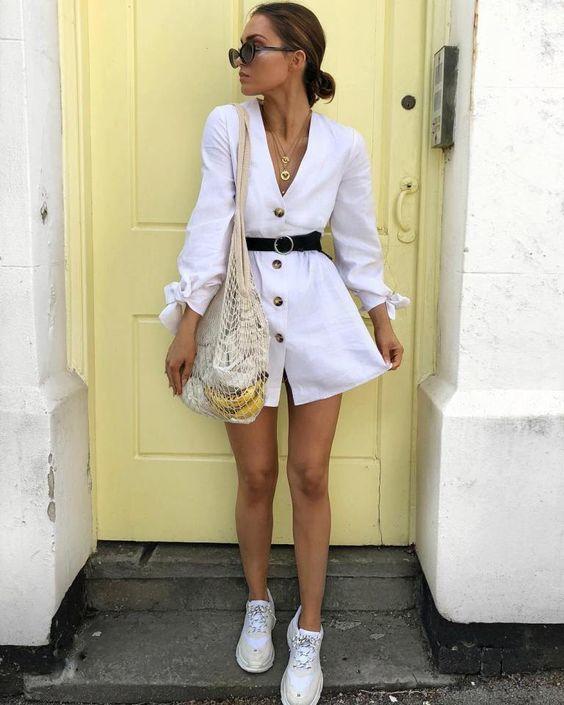 total look blanc femme robe