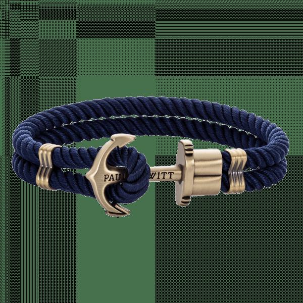 bracelet ancre homme bleu marine