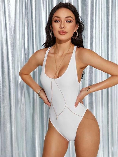 maillot bain 1 piece blanc