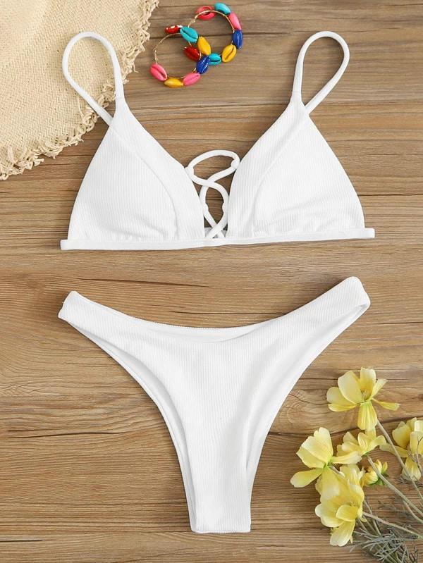 maillot de bain échancré blanc