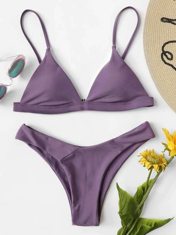 maillot de bain échancré violet