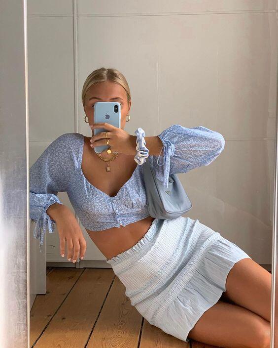 tenue vintage bleu